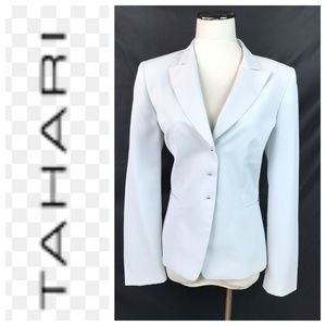 Tahari ASL Light Blue Pinstripe Blazer